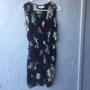 Amanda Uprichard floral wrap dress 100% silk
